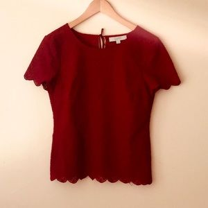 LOFT | Red Scalloped Lacey Top